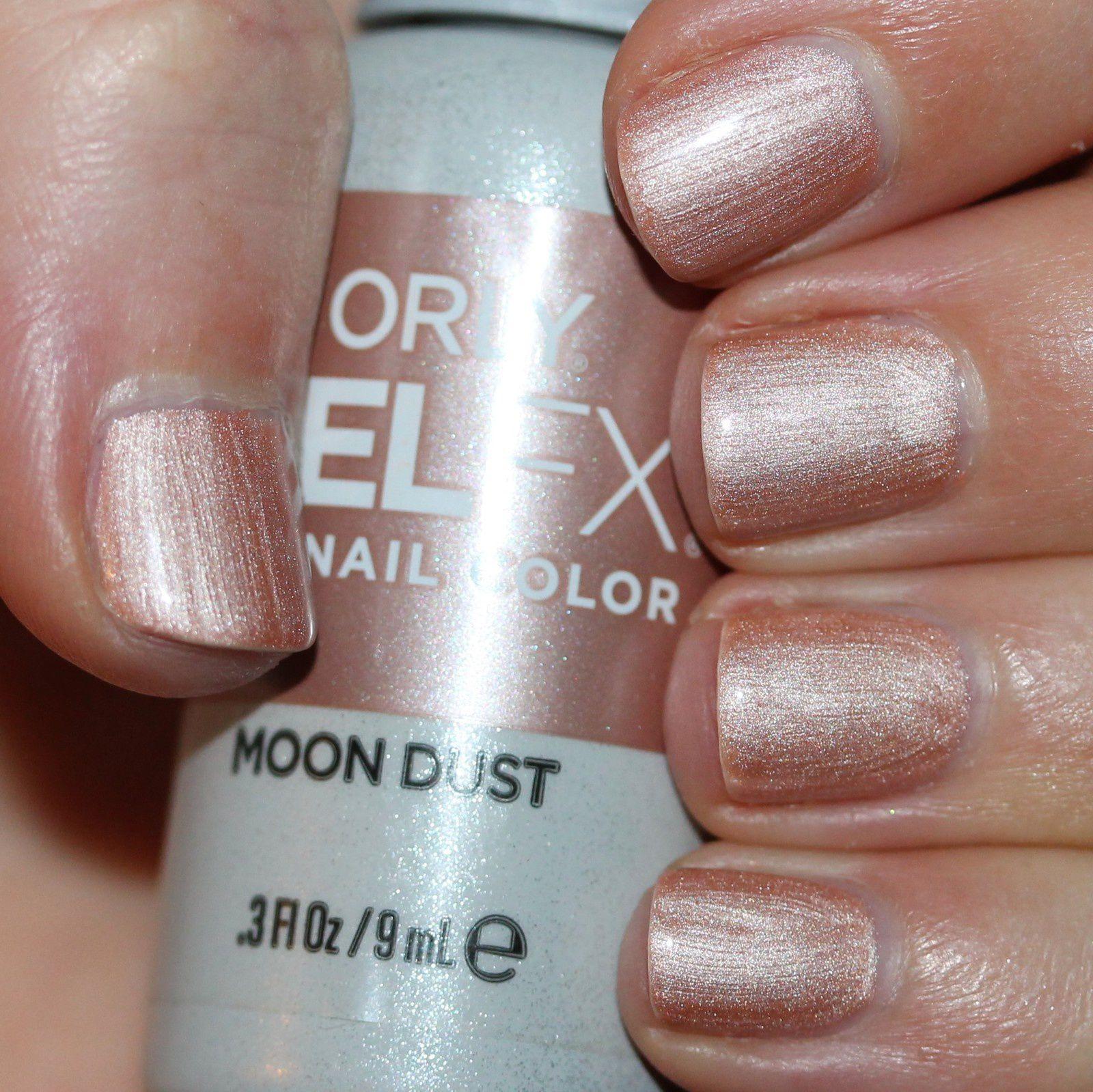 Gelish pH Bond Nail Prep / Gelish Foundation Soak Off Gel Base / Orly Gel FX Moon Dust / Gelish Top it off Soak Off Gel Sealer