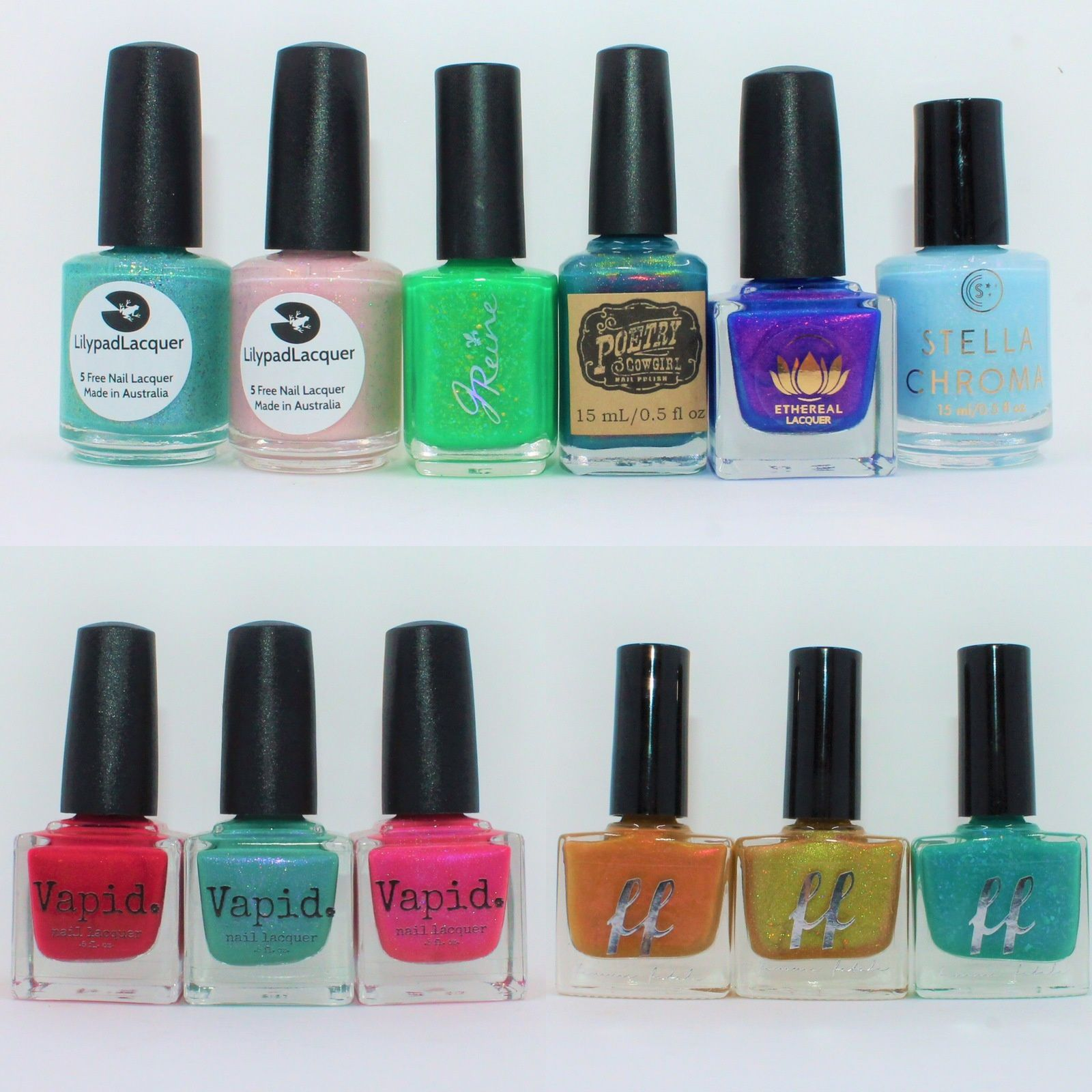 PPU March 2019 & HHC February 2019 (Lilypad Lacquer Aquqrius, It's Not Me It's You, JReine Skurrrd, Poetry Cowgirl Sing 'Em Good, Ethereal Lacquer Superposition, Stella Chroma Turtles inteh Clouds). Vapid Lacquer Water Your Melons, Thorn Down for What, Succittumi Baby. Femme Fatale Cosmetics Truth or Dare, The Summer of 1970, Succulent Garden.