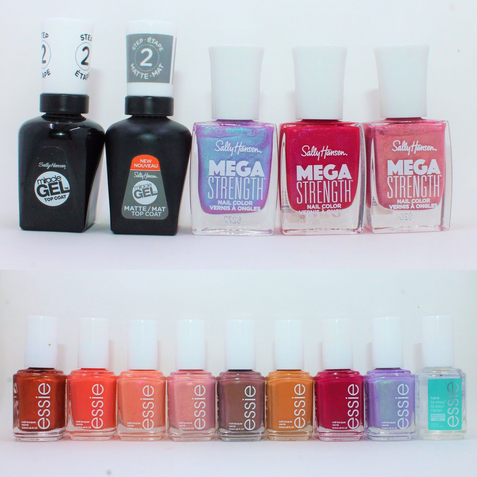 Sally Hansen Gel Top Coat (Shiny and Matte), Persis-tint, Slay All Day, Rise Up. Essie Say It Ain't Soho, Fondant of You, Pinkies Out, A Touch of Sugar, Teacup Half Full, Fall for NYC, Haute in the Heat, Tiers of Joy, Here to Stay base Coat.