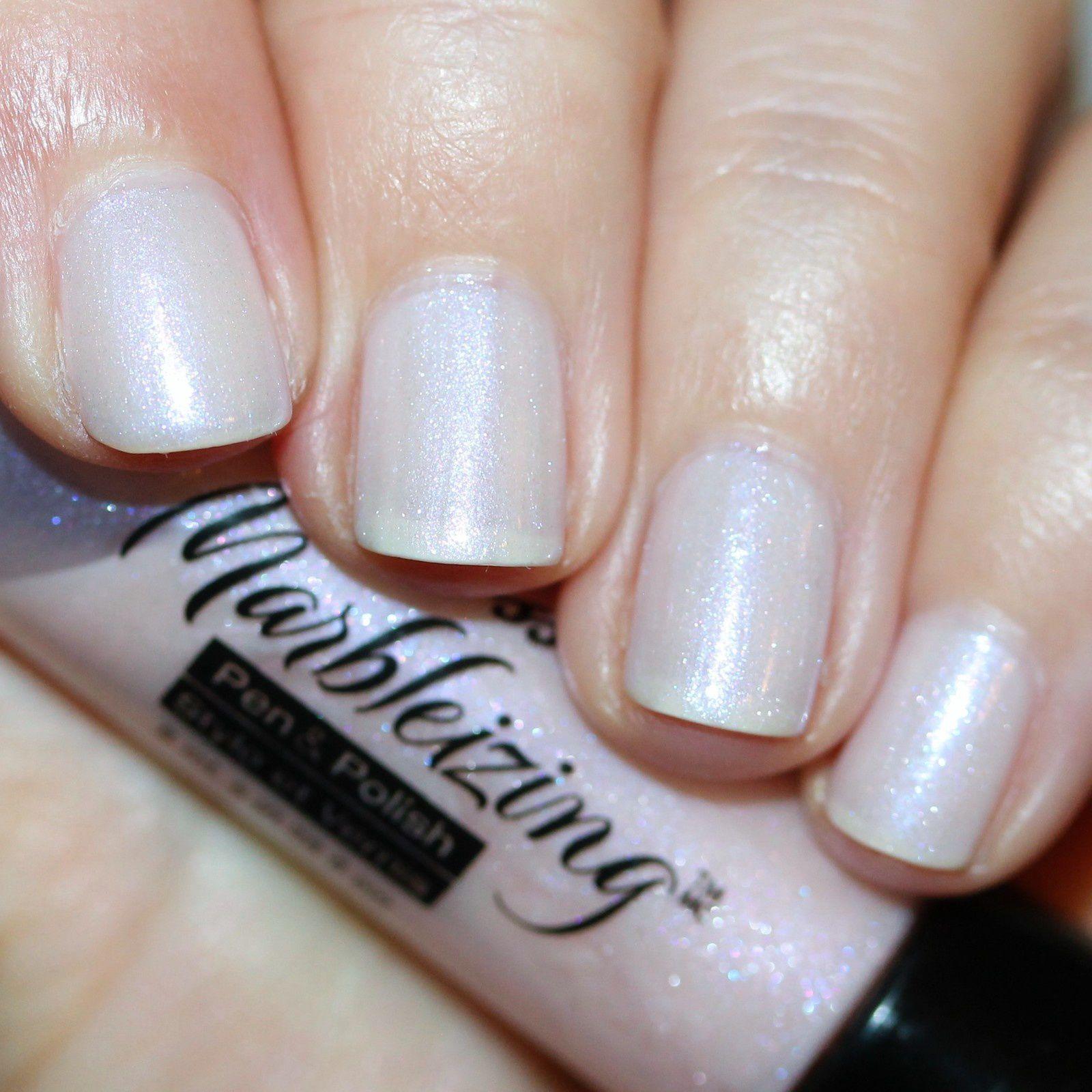 Essie Protein Base Coat / Kiss Nails Marbleizing Pen & Polish (Pastel Pink) / Essie Gel Top Coat