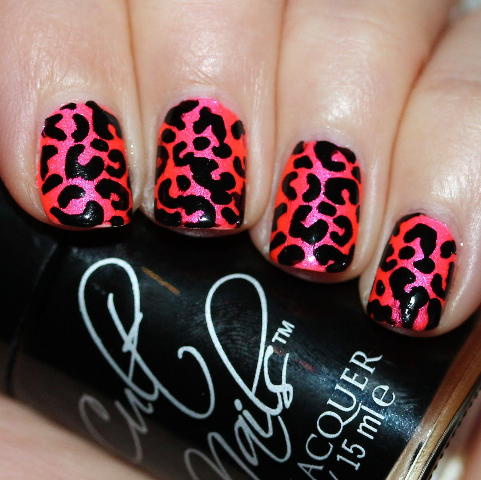 Essie Fill The Gap Base Coat / Tonic Polish Passion Fruit / Essie Gel Top Coat / Leopard stencils with Cult Nails Nevermore / Poshe Top Coat