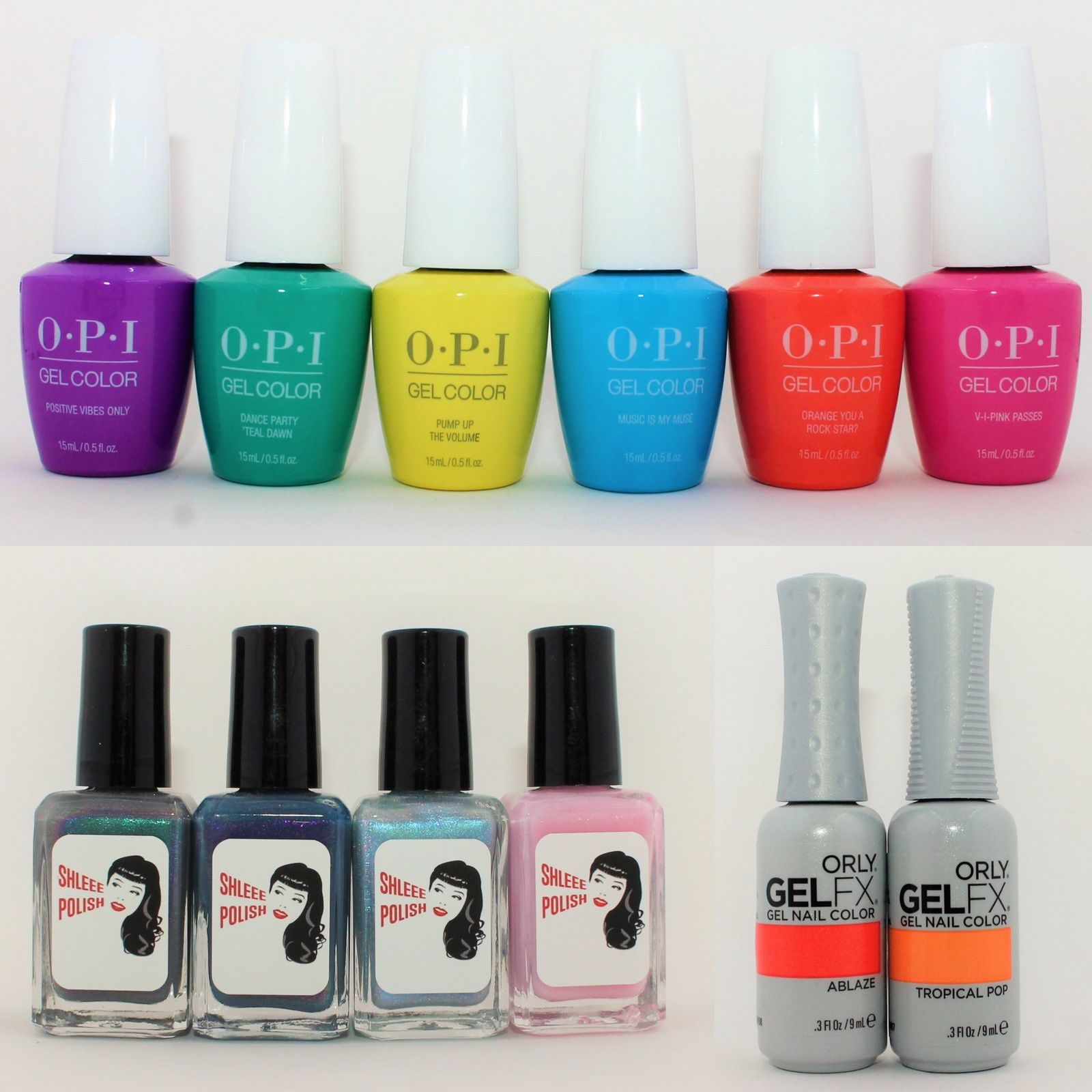 OPI Neon 2019 Collection. Shleee Polish Many Faces, Omen, Pools of Magics & Delicate. Orly GelFX Ablaze & Tropical Pop.