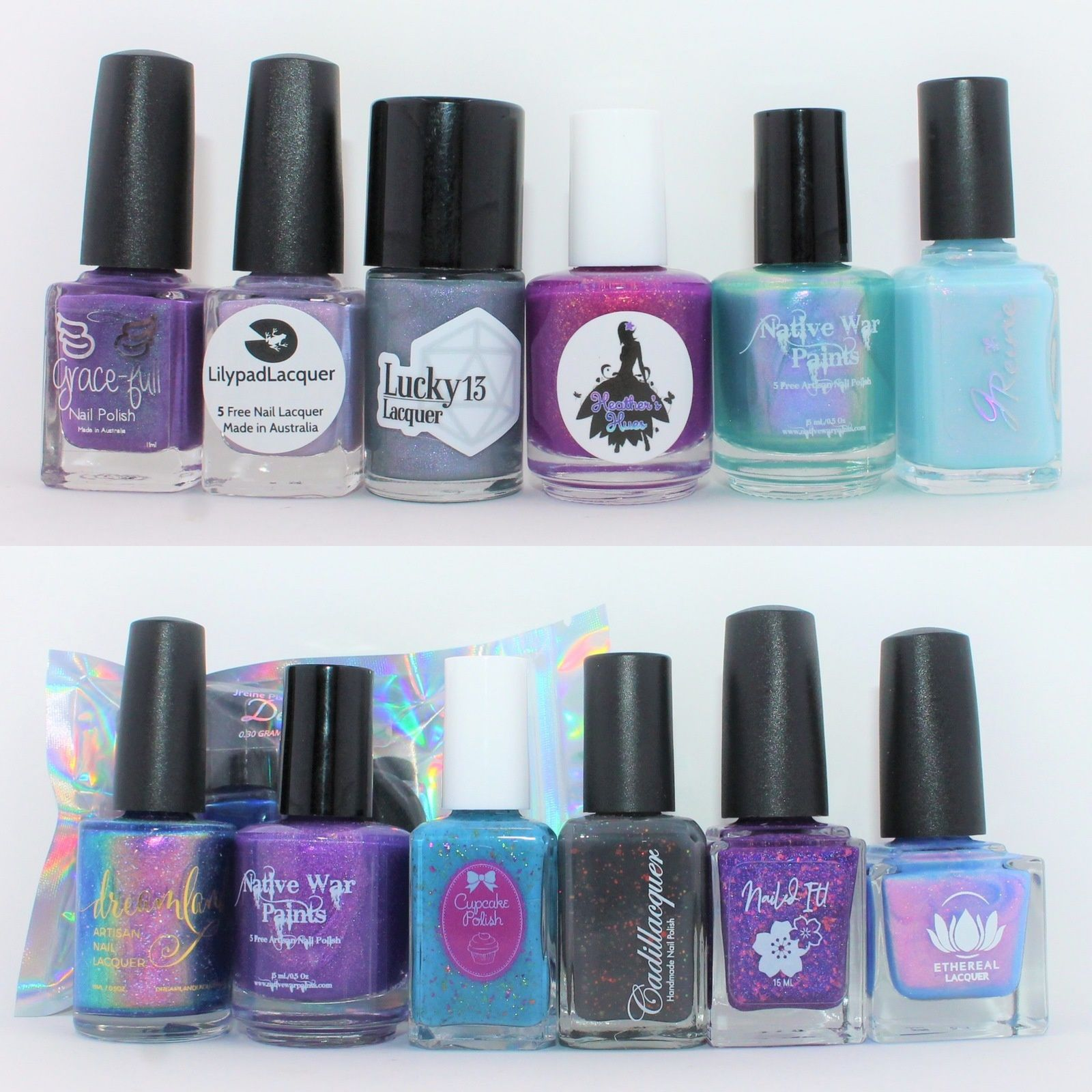 PPU December 2019  - Grace-Full Winter Blooms, Lilypad Lacquer Below Zero, Lucky 13 Nuclear Winter Wonderland, Heather's Hue Hotel of Ice, Natuve War Paints Beautiful Wanderings, JReine Crystal Star.  PPU November 2019 - JReine Pixie Magic Kit Destiny, Dreamland Lacquer What an Awkward Situation, Native War Paints Three Brothers, Cupcake Polish I'll Never Grow up, Cadillacquer Mother Holle, Nailed It! Spirit of The Forest, Ethereal lacquer Under The Sea.