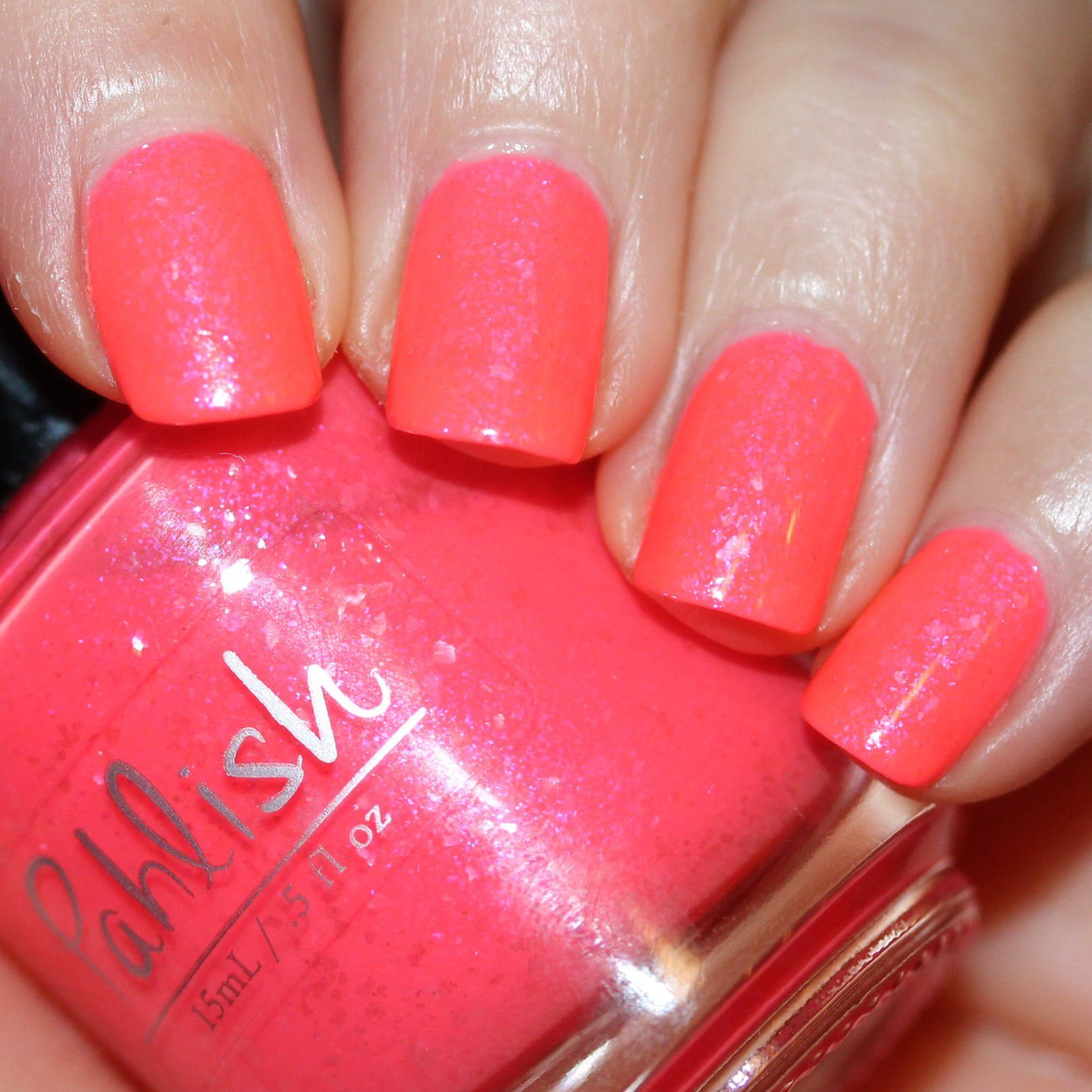 Essie Protein Base Coat / Pahlish Watermelon Punch / HK Girl Top Coat