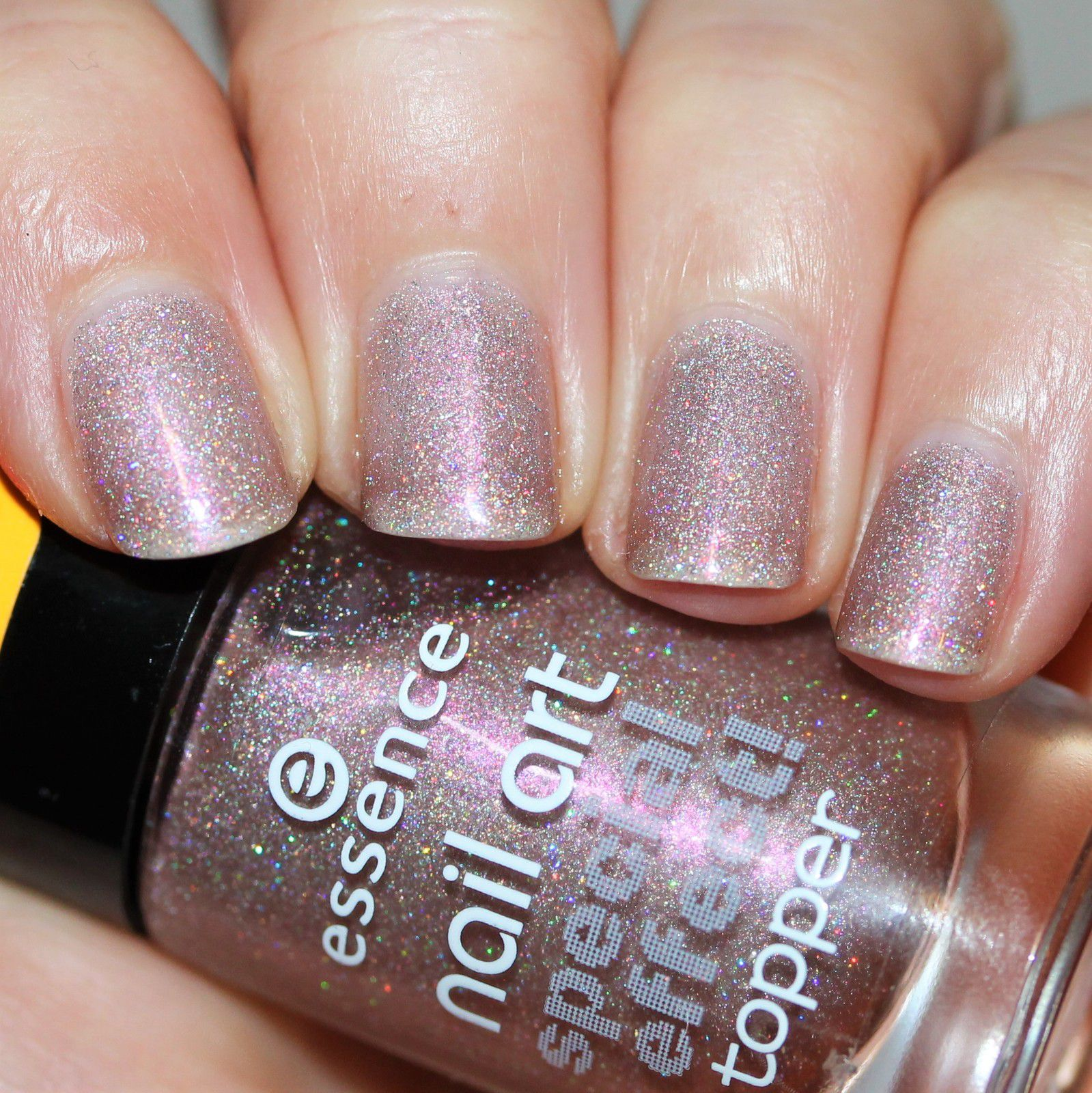 Essie Protein Base Coat / Essence Holo Topping, Please! / HK Girl Top Coat
