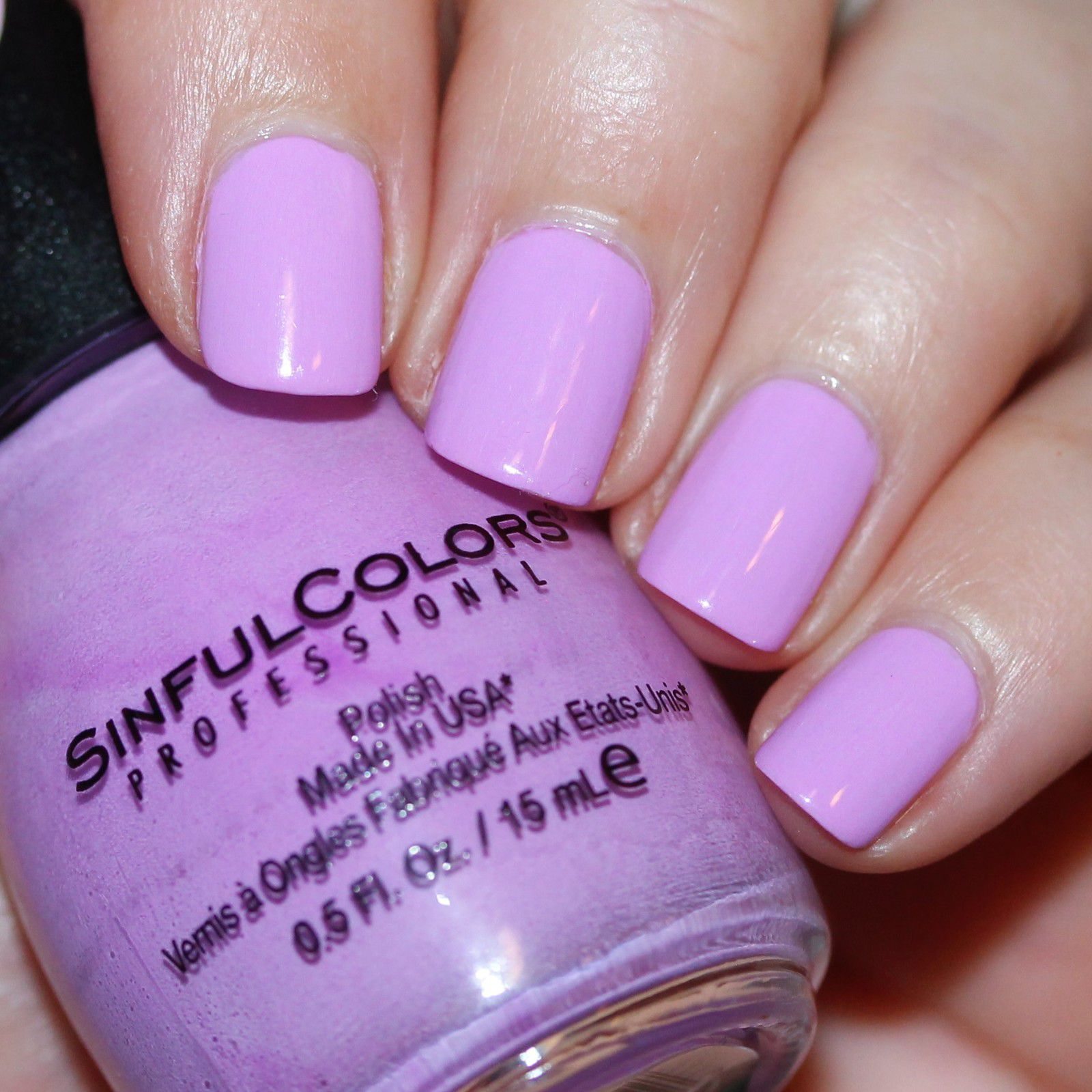 Essie Protein Base Coat / Sinful Colors Lilac Out Loud / HK Girl Top Coat