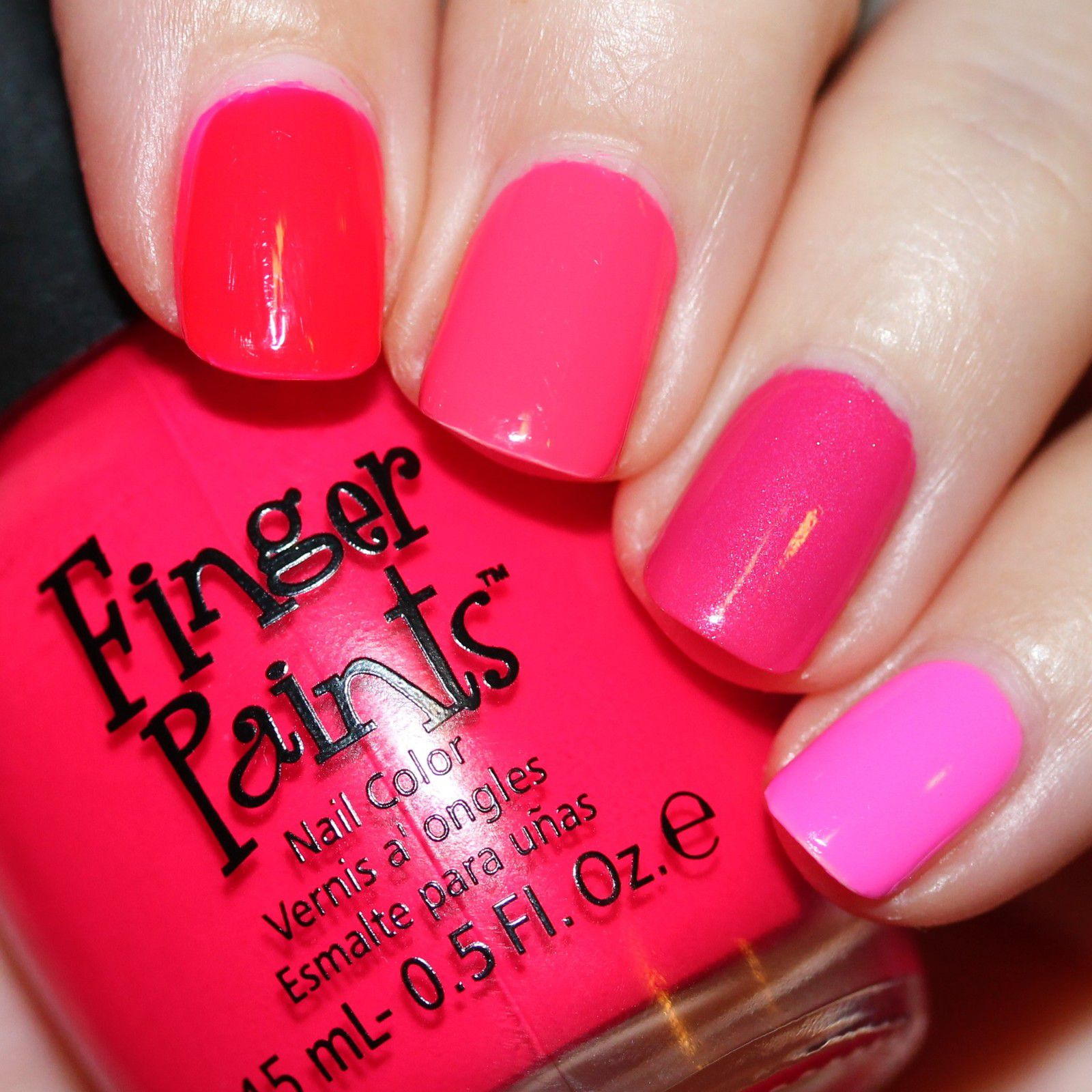 Essie Protein Base Coat / LA Girls Desire, Rio & Eden / Finger Paints Pink Perspective & A-Cry-Lic A Girl / Poshe Top Coat