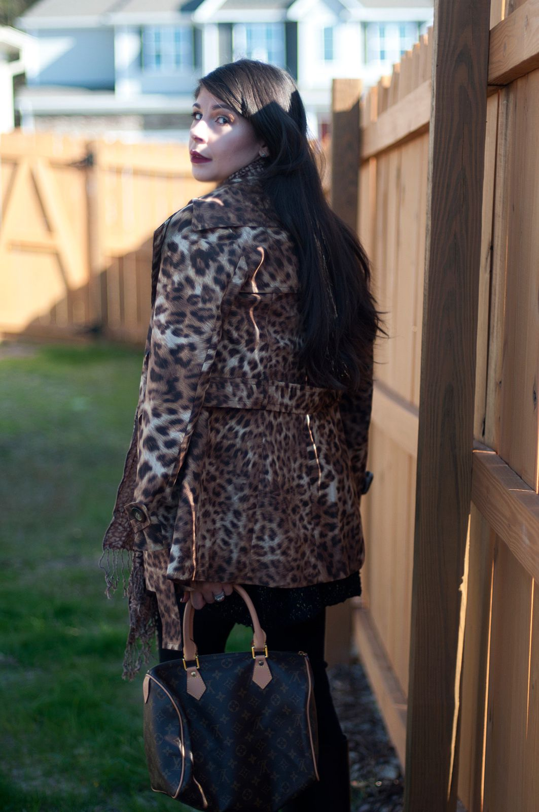 Leopard Trench Coat & Riding Boots