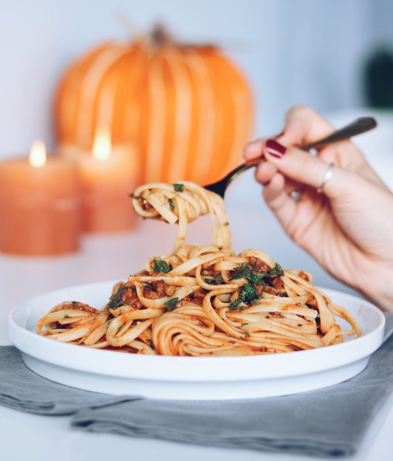 Pumpkin & Kale Pasta { VEGAN RECIPE }