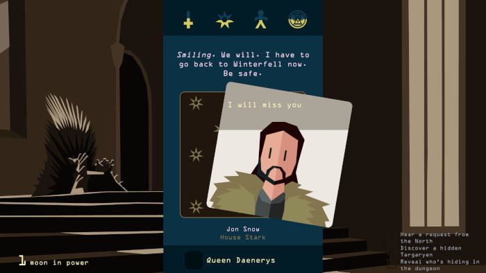 Reigns : Game of Thrones Le jeu sortira sur mobile et PC en octobre