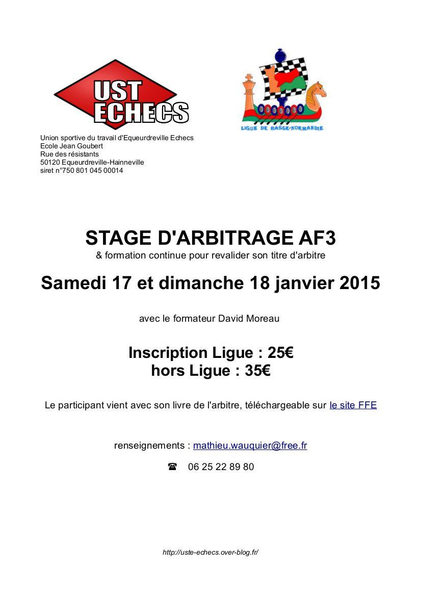 Stage d'arbitrage AF3, au club