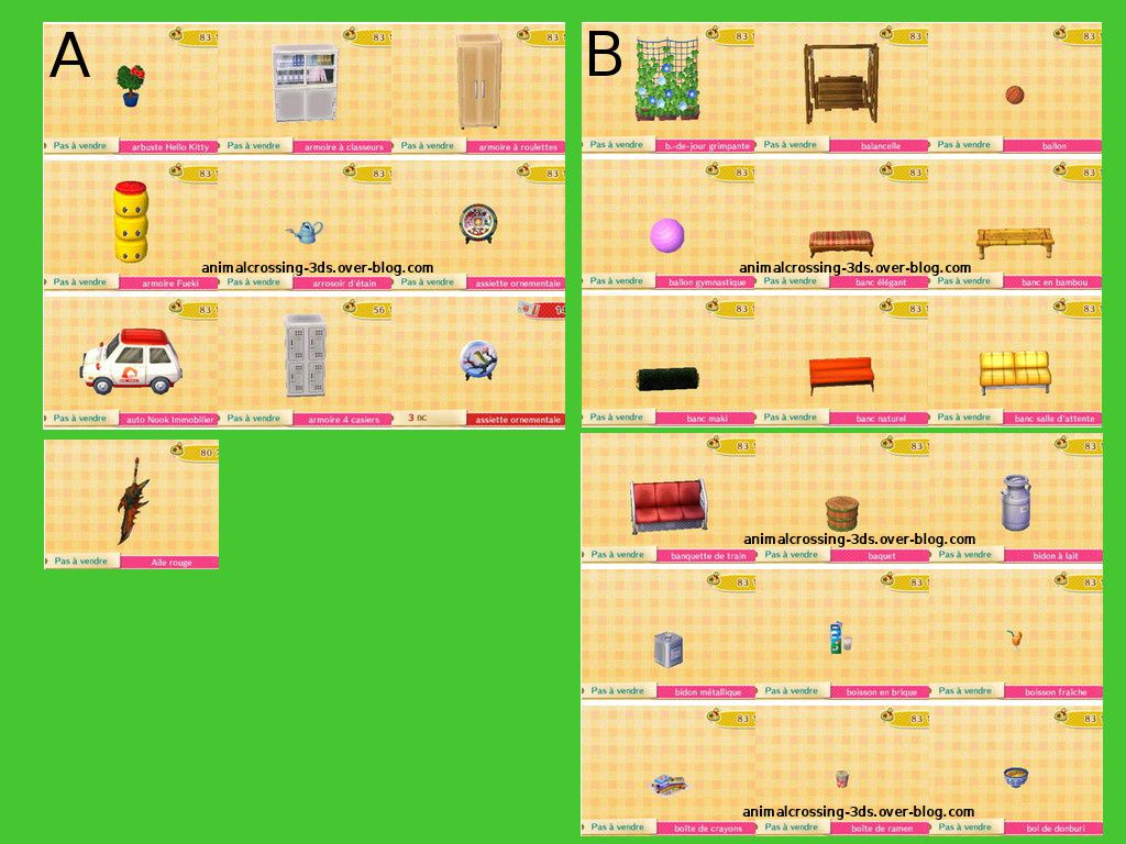 les meubles de la maj en cours animal crossing new leaf. Black Bedroom Furniture Sets. Home Design Ideas