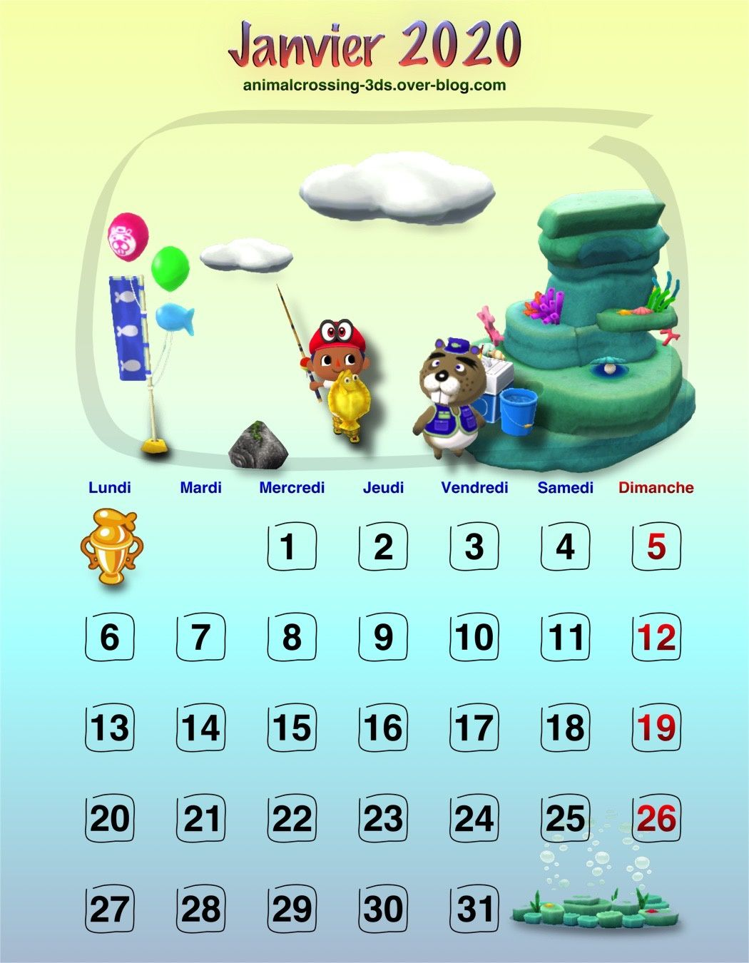 Calendrier ACNL 2020 (en cours) :   Animal Crossing New Leaf