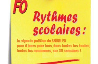 Communiqué du SNUDI FO du 21 juin - La campagne pour les 4 jours sur 36 semaines sur tout le territoire rencontre l'adhésion massive des enseignants !
