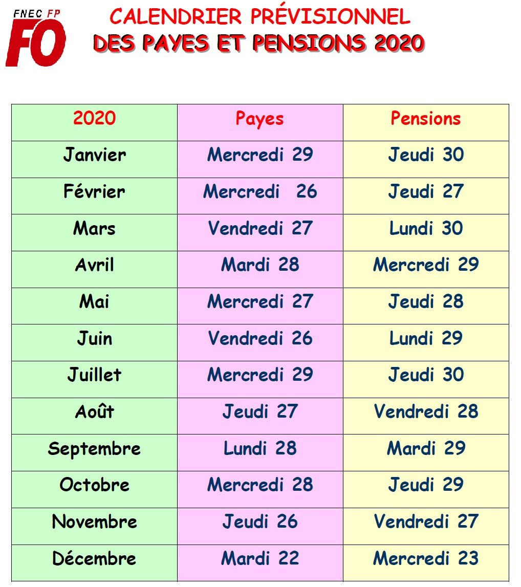 calendrier payes et pensions 2020