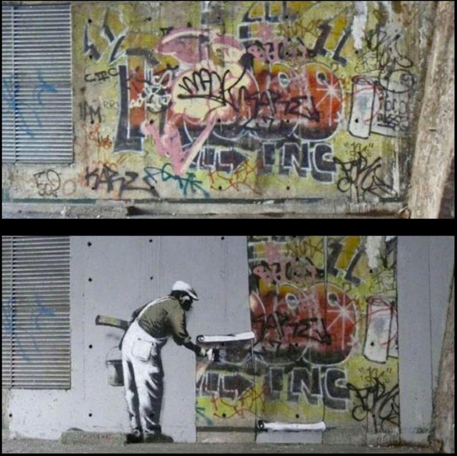 En 2009, Banksy recouvre le dernier graffiti encore visible du graffeur Robbo