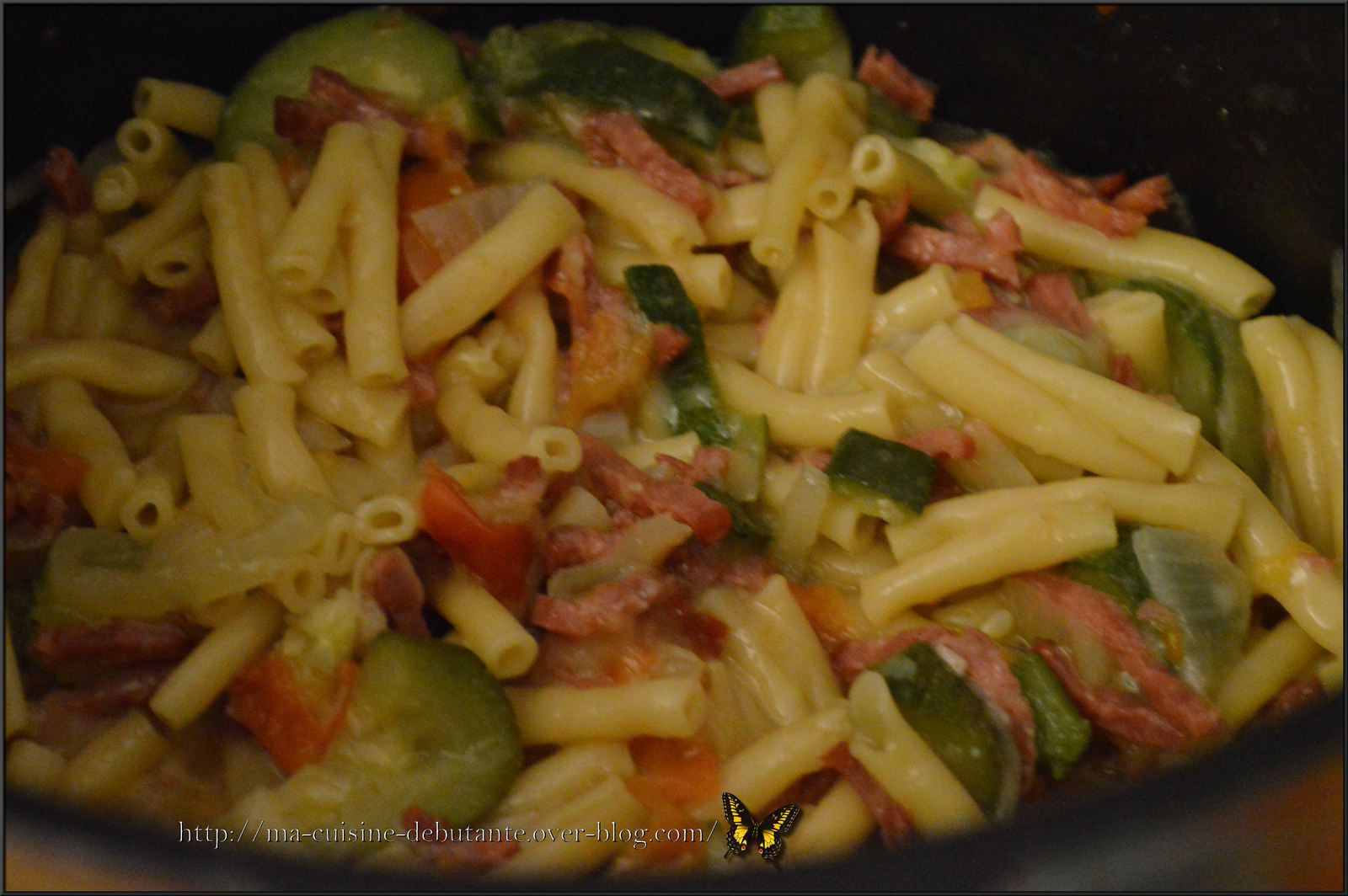 Macaronis au bacon courgette