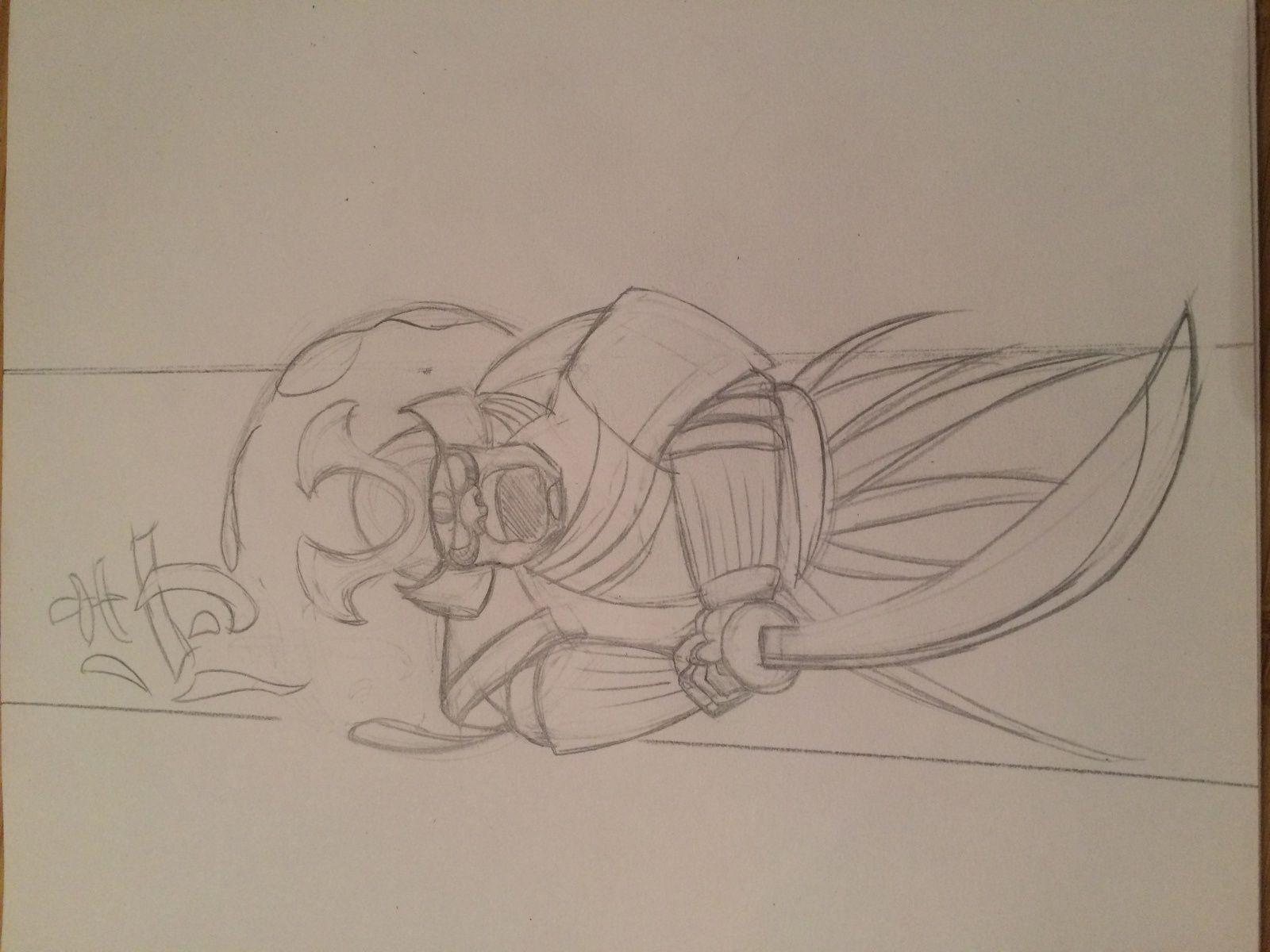dessin du samouraï au crayon HB