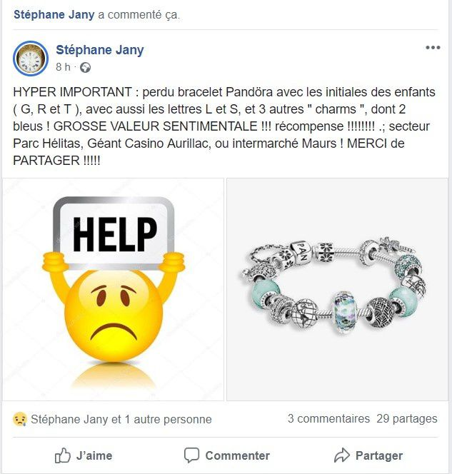 PERDU bracelet Pandora