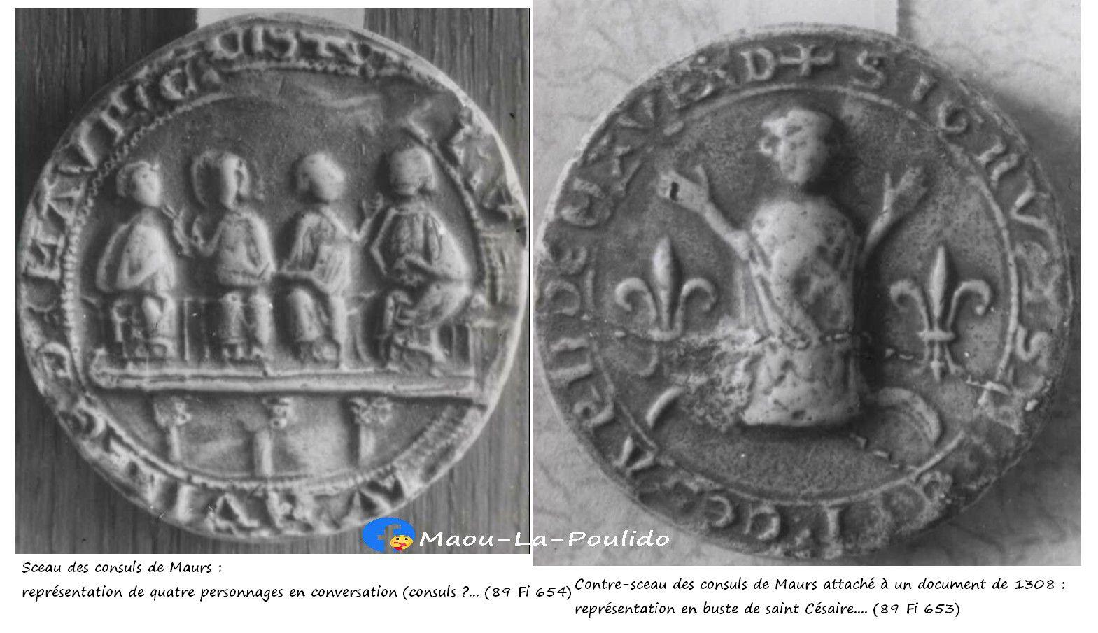 Sceau de l'abbé de Maurs représentant St Césaire en 1308
