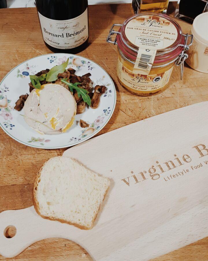 Brioche perdue à la crème de champignons et foie gras
