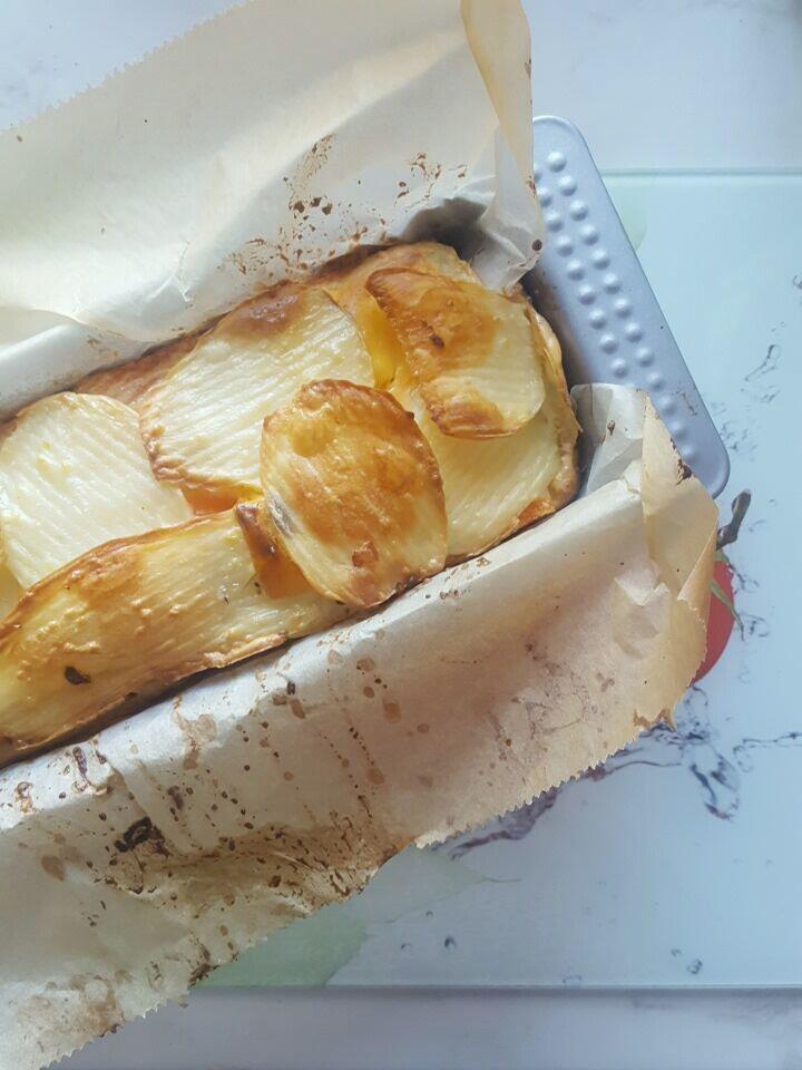 Gâteau invisible pomme de terre, carotte, cheddar au lait de coco