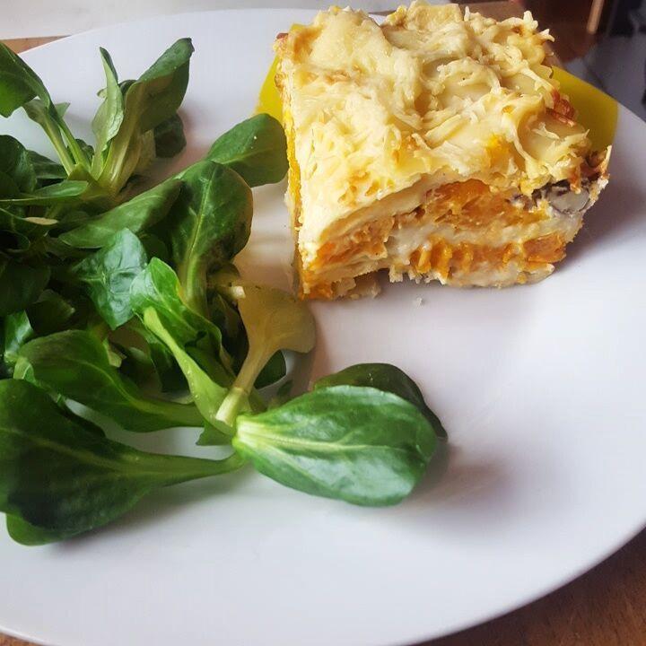 Lasagnes au potiron, cheddar, noisette