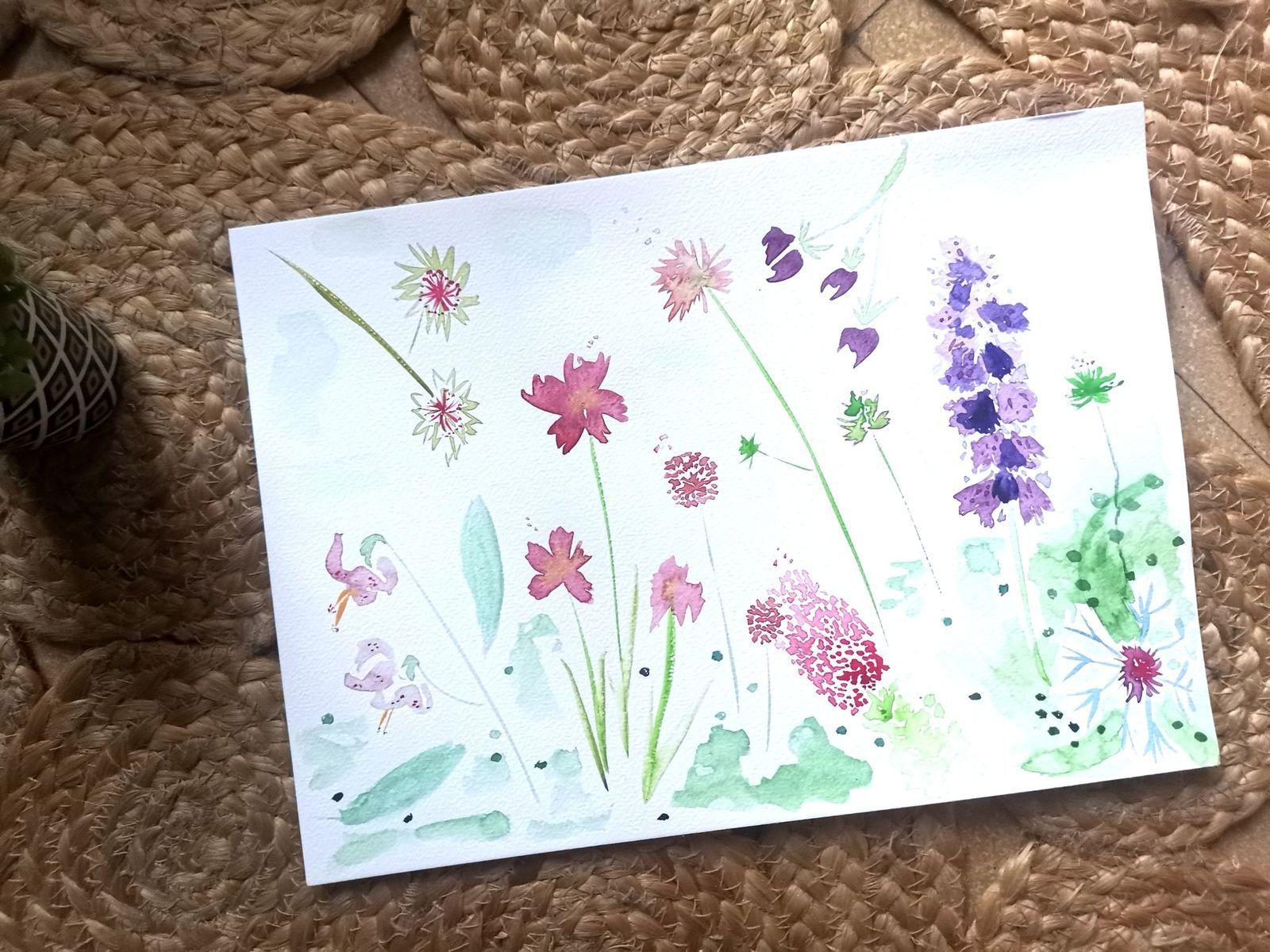 Fleurs de montagne et aquarelle