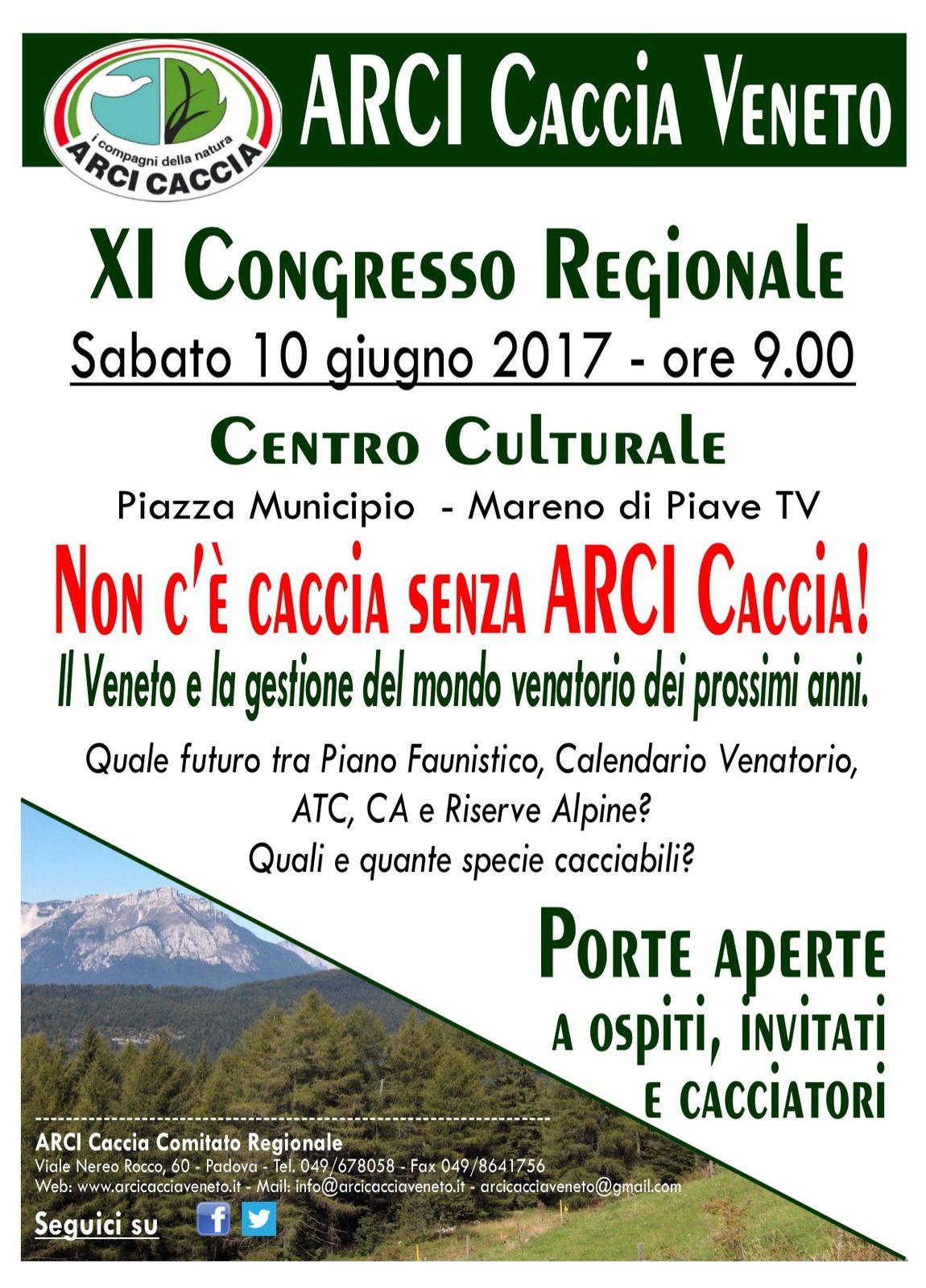 Il 10 Giugno a Mareno di Piave (TV), dalle ore 9, Congresso Regionale ARCI Caccia