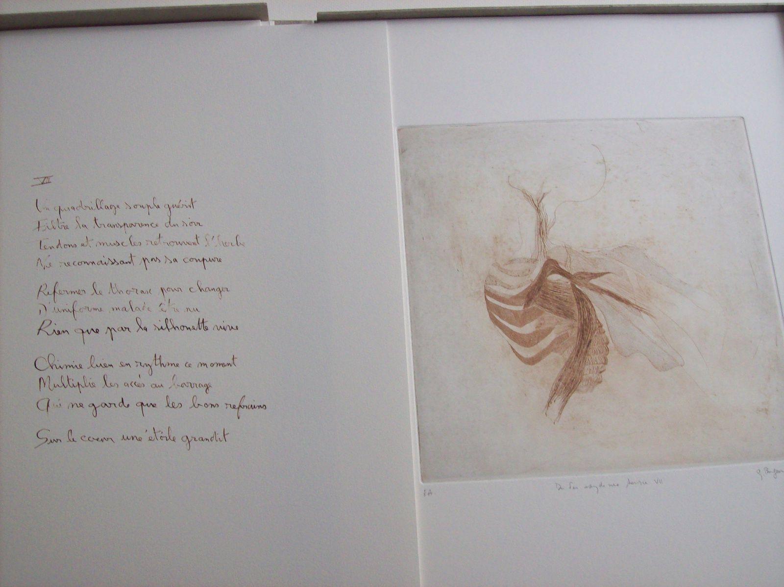 """""""Du fer oxyde une source"""", livre d'artiste ( poèmes de Régis Roux/ gravures de Gladys Brégeon); 2016."""