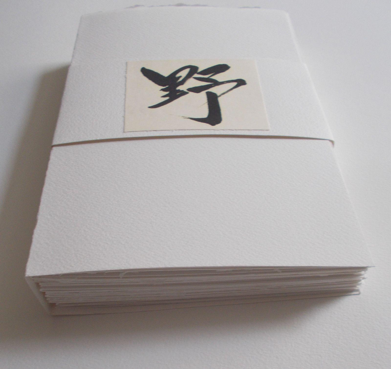 """"""" HAIKUS DES COLLINES"""", livre d'artiste; 2017. Poèmes de Régis Roux/ Calligraphies japonaises de Noriko Matsuzawa."""