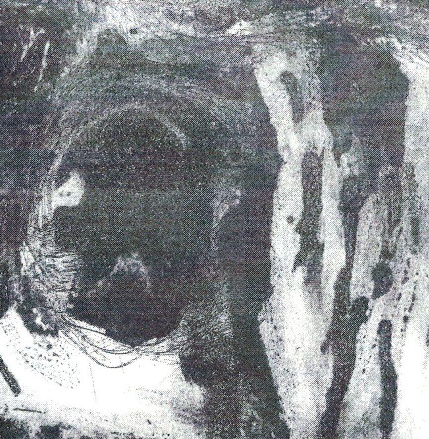 """"""" la peau des arbres 1 """" ,  de Véronique Mirnezan, 50 par 100 cm sans marges , eau forte ( calligraphie au perchlorure de fer ) et meuleuse ."""