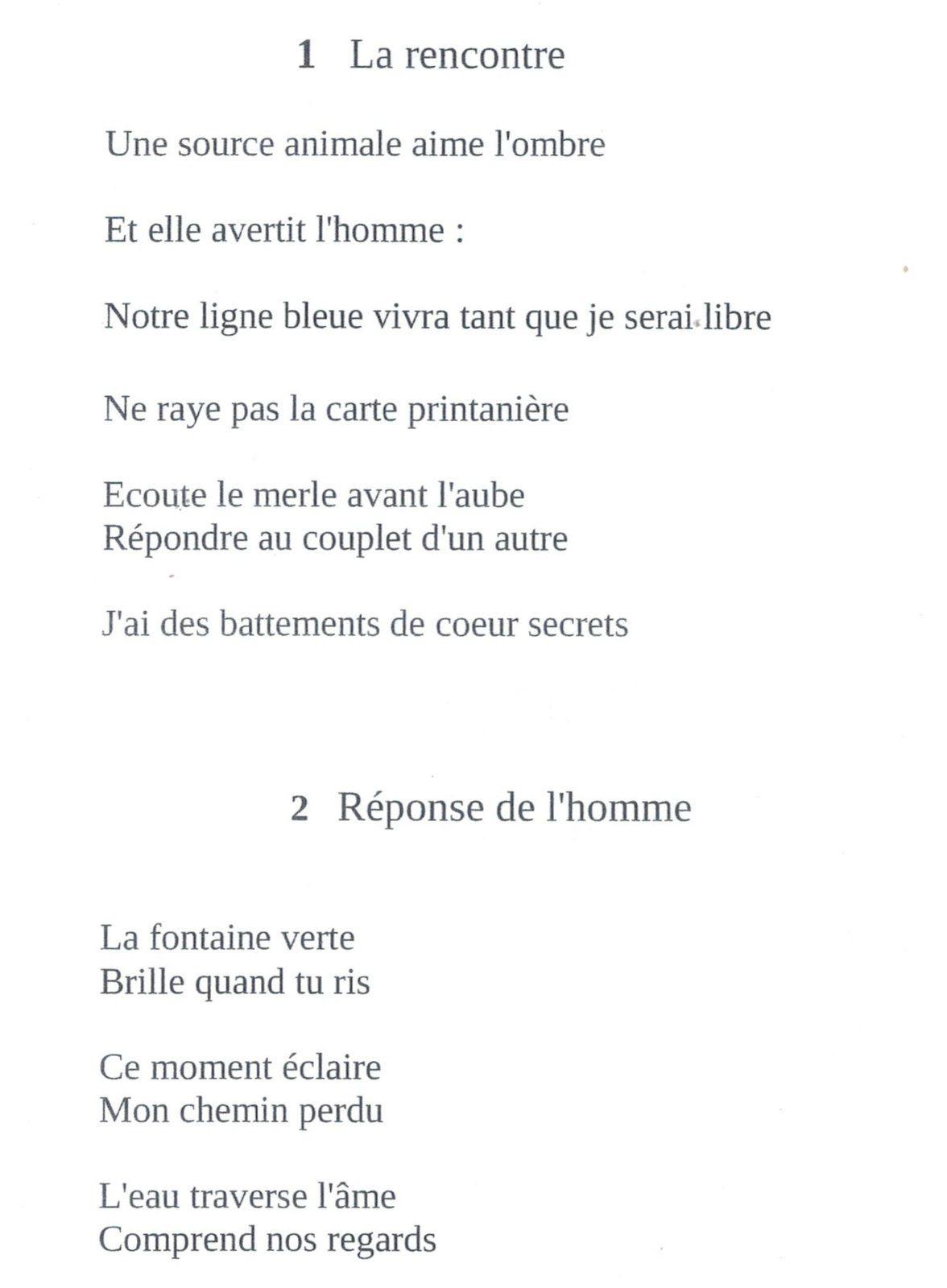 """Régis Roux, """" Passage de la fée"""" couverture et poèmes 1 et 2 du recueil."""