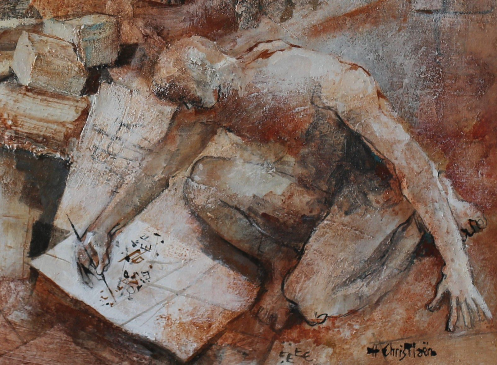 """Henry Christiaën: """" Dédale"""", huile sur toile et détails. Toute reproduction interdite."""