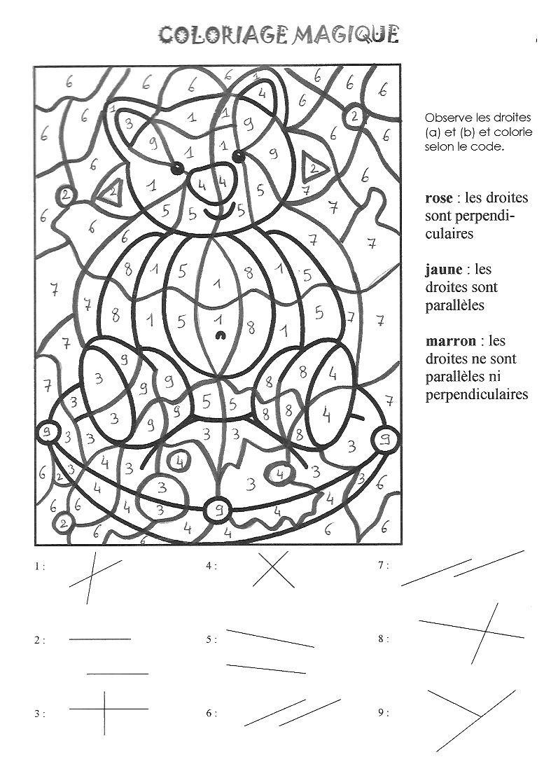 Coloriage magique: parallèles et perpendiculaires