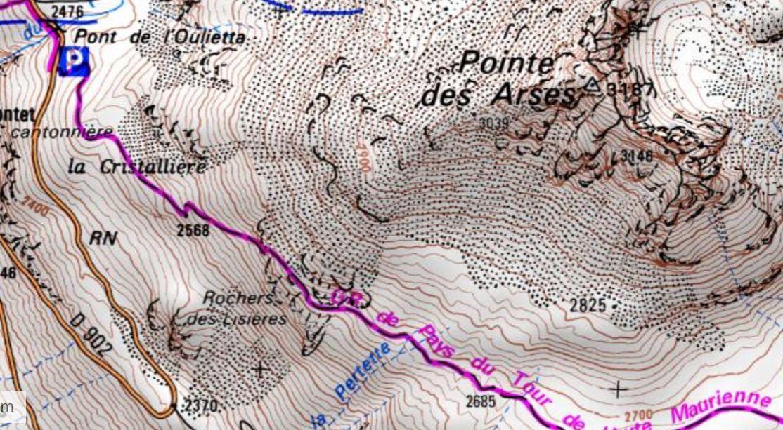 Sentier du plan des Eaux, sentier balcon d'où la vue est exceptionnelle sur les sommets et glaciers de la Haute Maurienne.