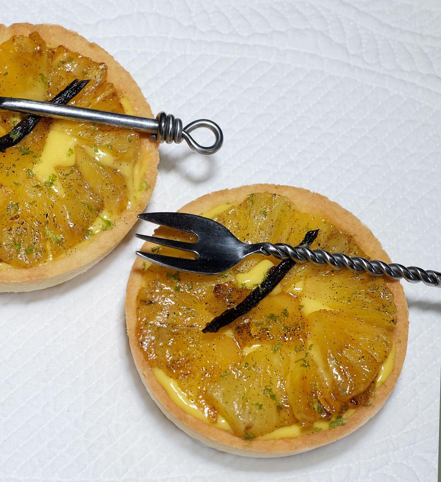 Tartelettes mangue curd, ananas et vanille