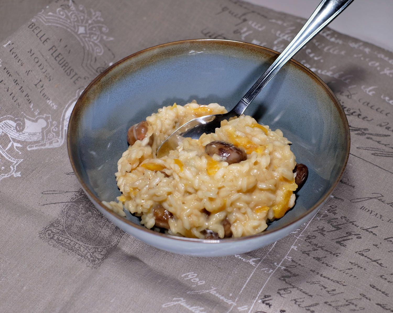 Risotto aux châtaignes, gorgonzola et abricots secs moelleux
