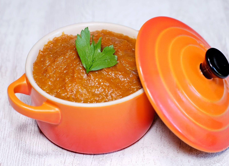 Chutney d'automne à la courge (potiron ou sucrine du Berry) et aux abricots moelleux