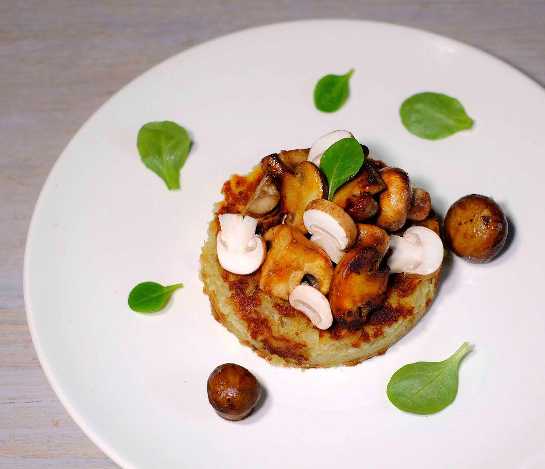 Röstis à la poêlée de champignons à l'huile de noix (veggie)
