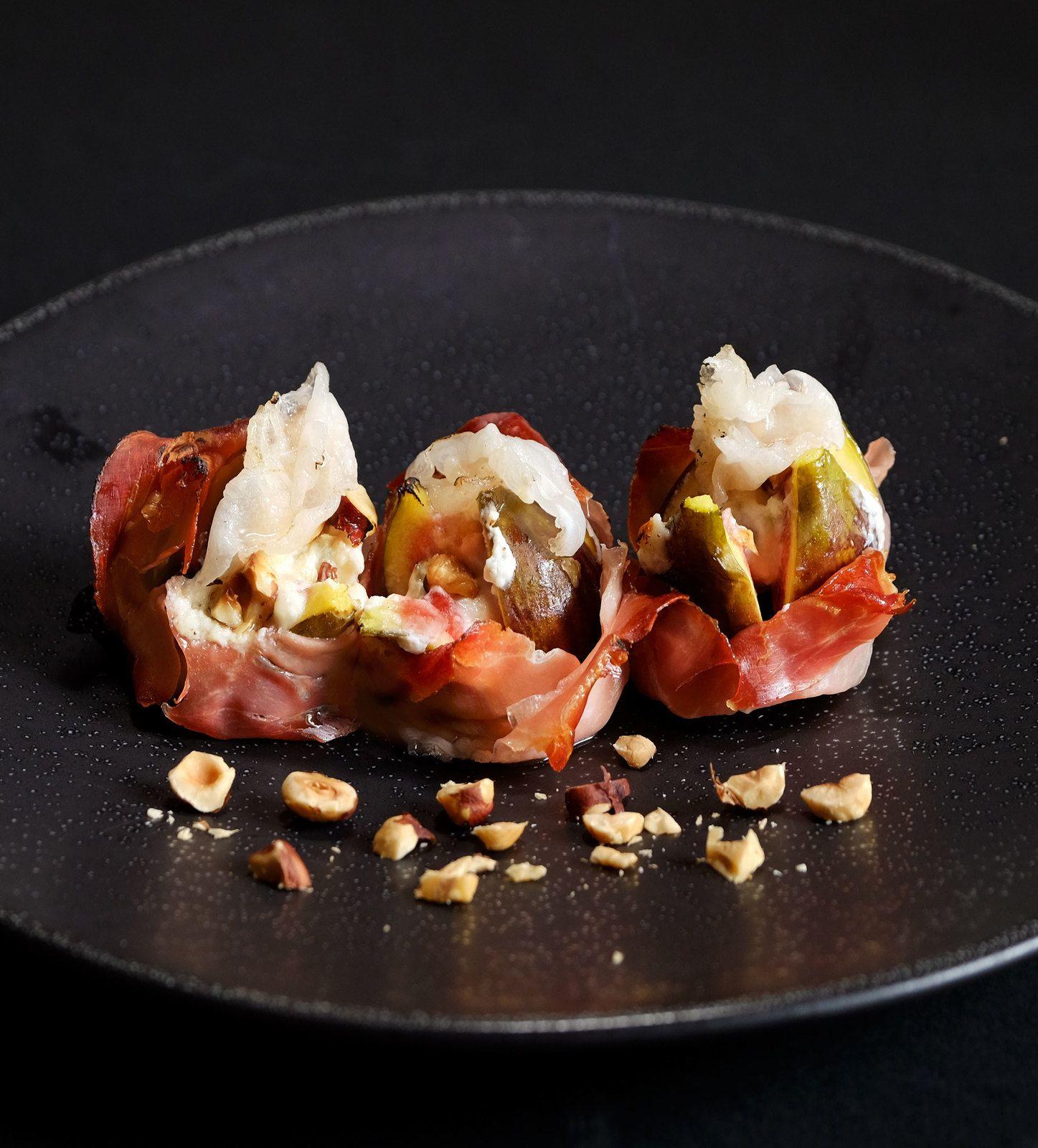 Figues rôties au speck, gorgonzola et noisettes-recette italienne (Omnicuiseur ou pas)