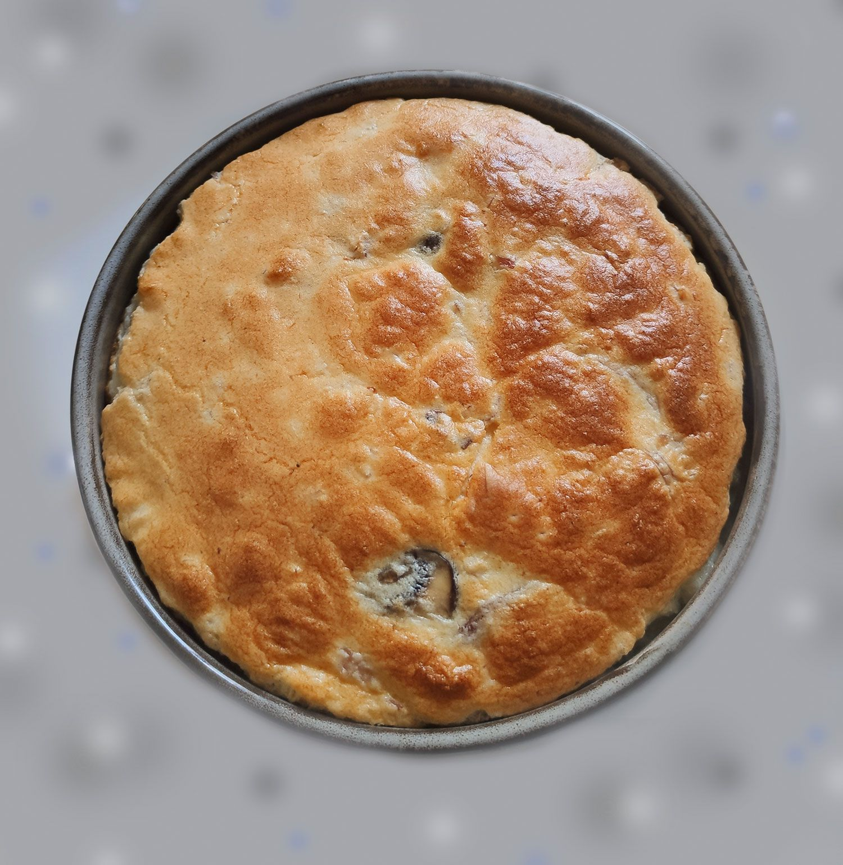 """""""Gâteau-soufflé"""" au fromage-jambon et champignons"""