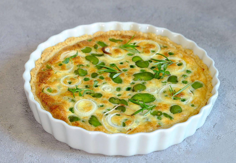 Tarte aux petits pois et au fèves, parmesan et ricotta