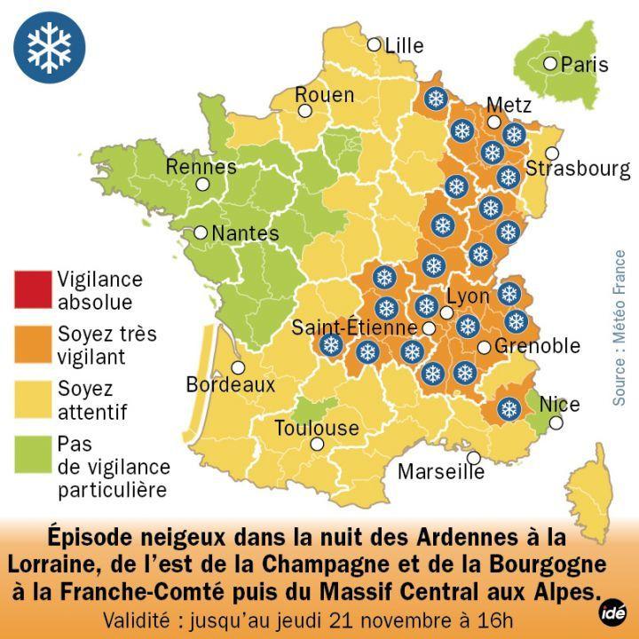 Alerte à la neige sur 25 départements