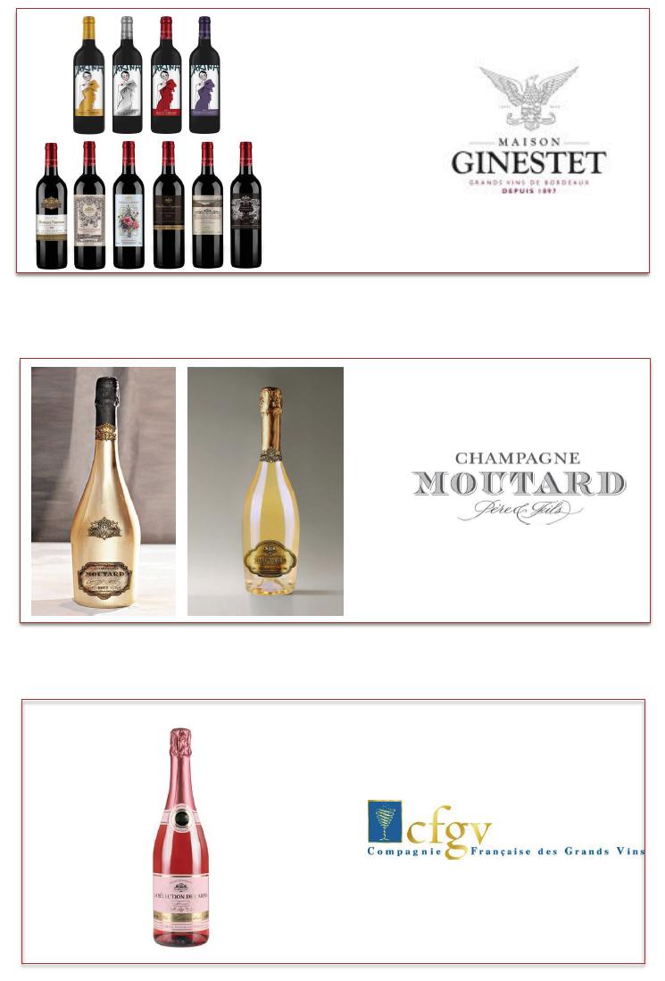 Les différents vins de la sélection Carina