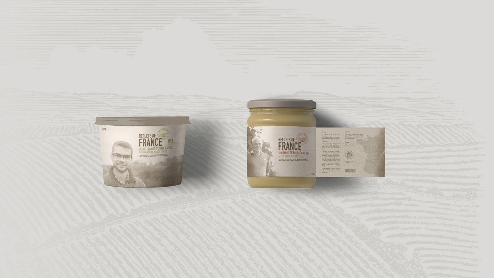 """""""Derrière chaque produit, un Homme, un Terroir"""" - Reflets de France (marque de produits régionaux français du groupe Carrefour) I Design (projet étudiant) : Maxime Genier (BTS Design Graphique - Lim'Art), France (décembre 2016)"""