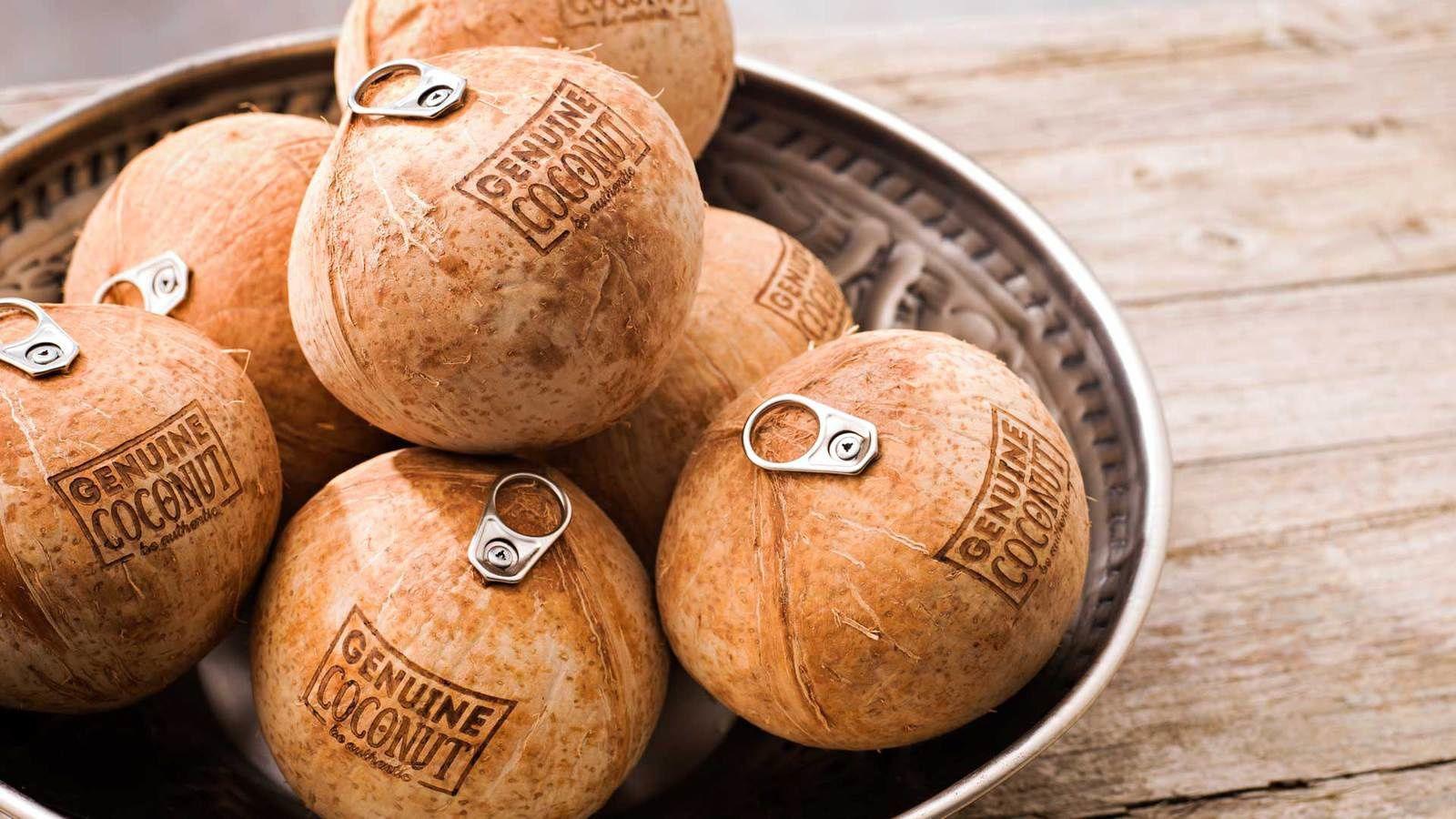 Genuine Coconut (eau de coco) : Languette biodégradable, fabriquée en fibre de noix de coco recyclée et en résine naturelle I Sélection SIAL Innovation 2016