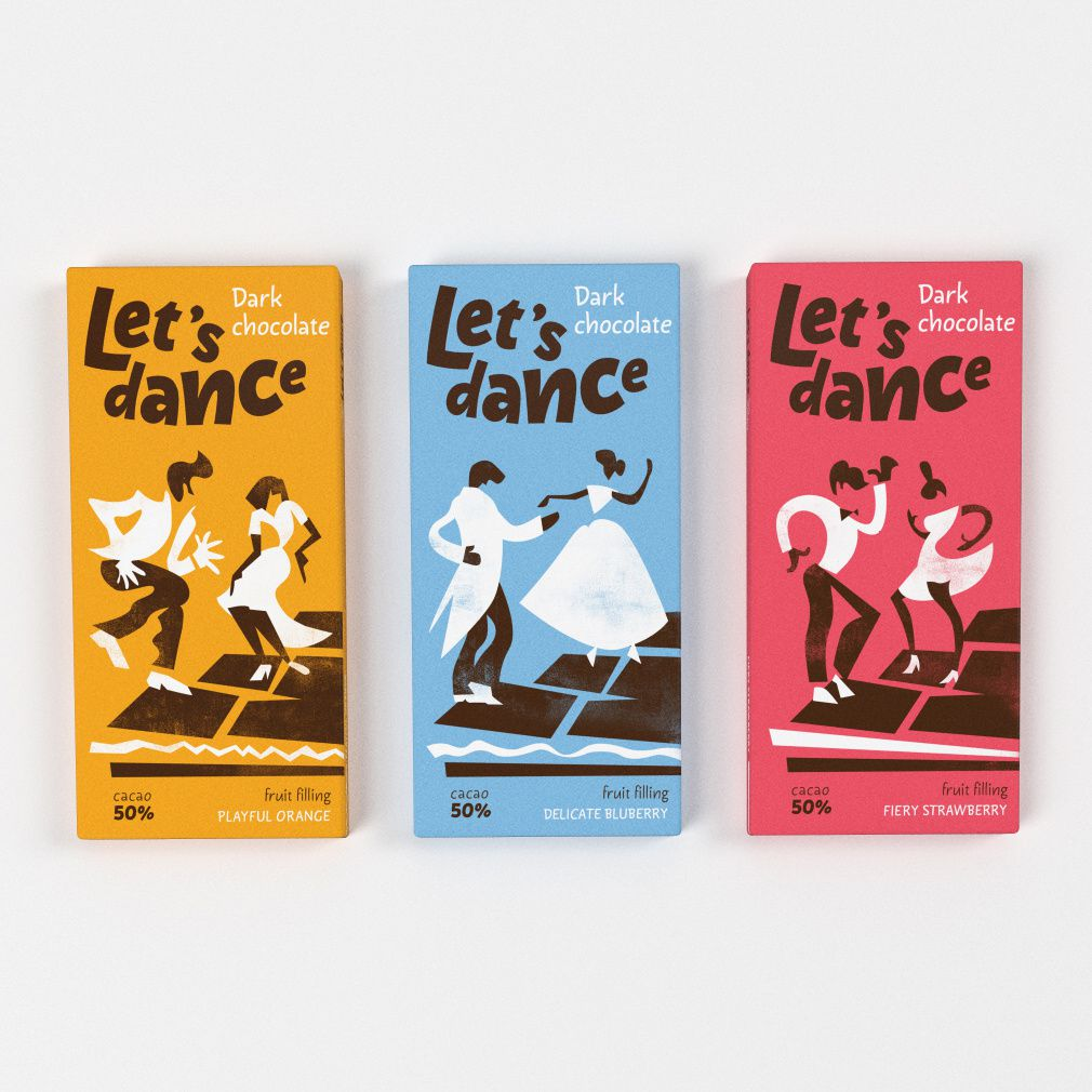 """Let's dance"" (chocolat noir fourré aux fruits) I Design (projet étudiant) : Burdenkova Natalia (British Higher School of Art & Design), Moscou, Russie (mai 2017)"