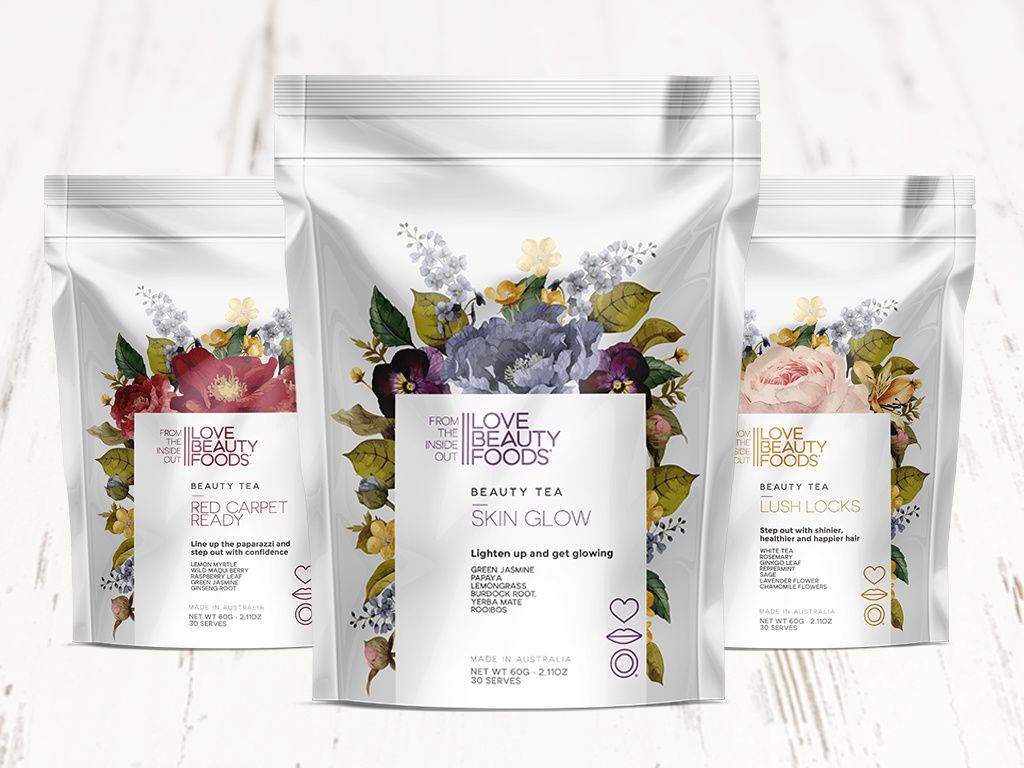 Love Beauty Foods (thé) I Design : Jam&Co Design Pty Ltd, Australie (juin 2017)