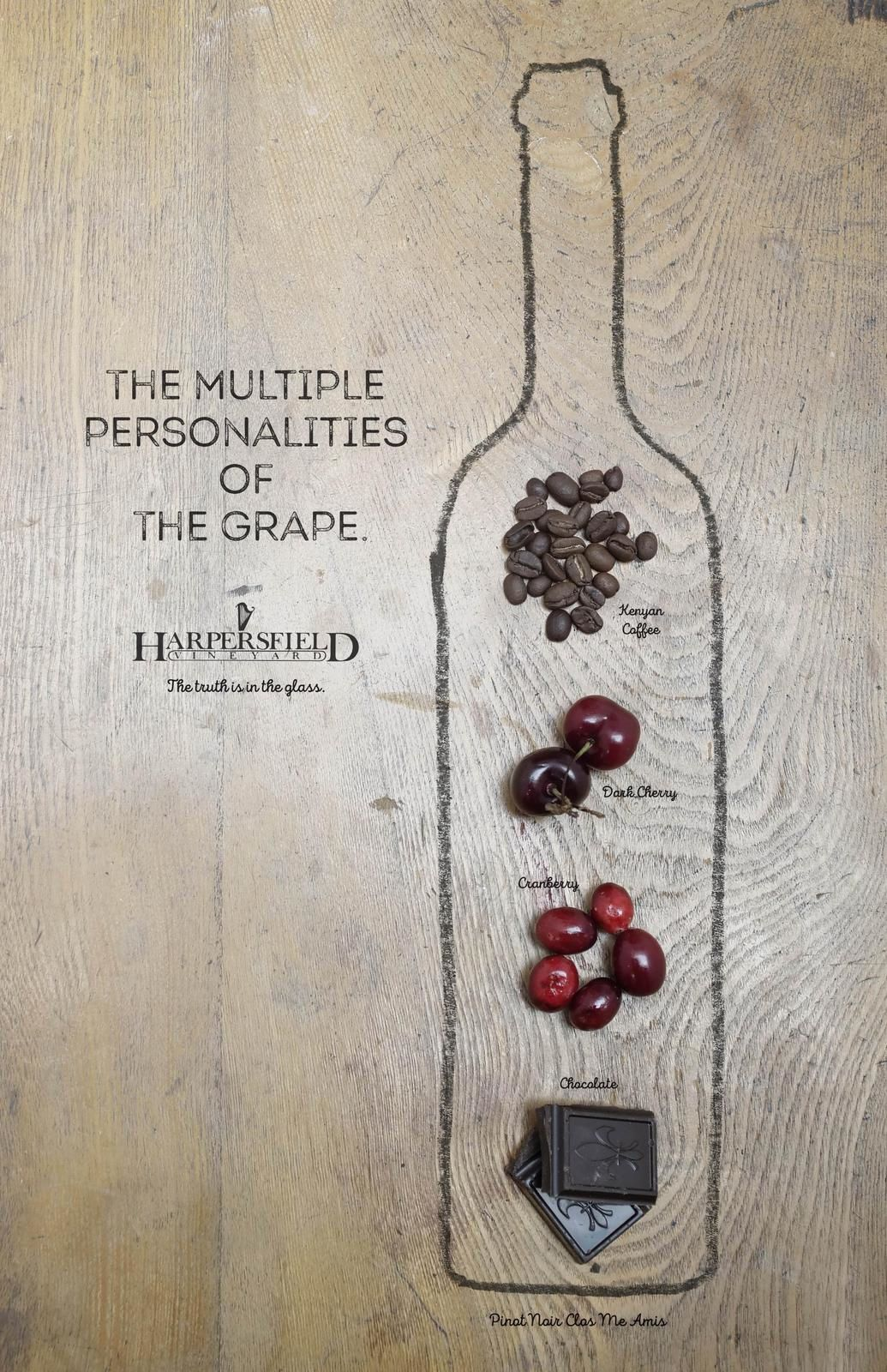 "Harpersfield Vineyards : ""The multiple personalities of the grape"" (vin) I Agence : Wyse Advertising, Cleveland, États-Unis (janvier 2018)"